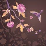 Πουλί στον κήπο λουλουδιών βραδιού Στοκ Εικόνα