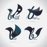 Πουλί σχεδίου πουλιών λογότυπων font Διάνυσμα στο άσπρο υπόβαθρο απεικόνιση αποθεμάτων