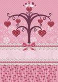 Πουλιά και δέντρο αγαπημένων. Κάρτα διακοπών. Στοκ Εικόνα