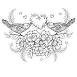 Πουλιά με την καρδιά και τριαντάφυλλα για τη χρωματίζοντας σελίδα αντι πίεσης Στοκ Φωτογραφία