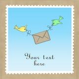 Πουλιά που παραδίδουν το ταχυδρομείο ελεύθερη απεικόνιση δικαιώματος