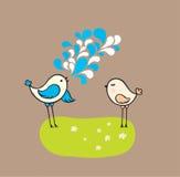 πουλιά χαριτωμένα δύο Ελεύθερη απεικόνιση δικαιώματος