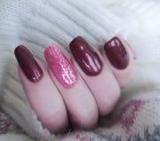 πουλόβερ μανικιούρ χεριών, χειμερινή γοητεία στοκ εικόνα με δικαίωμα ελεύθερης χρήσης