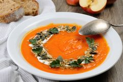 Πουρές σούπας κολοκύθα-Apple Στοκ Εικόνες