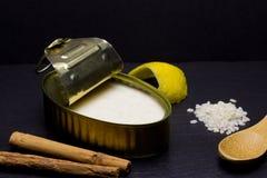 Πουτίγκα ρυζιού στον κασσίτερο ψευδάργυρου στοκ φωτογραφία