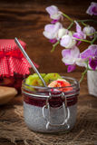 Πουτίγκα σπόρου Chia με τα φρούτα Στοκ φωτογραφία με δικαίωμα ελεύθερης χρήσης