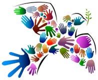 Πουλί ειρήνης χεριών ελεύθερη απεικόνιση δικαιώματος