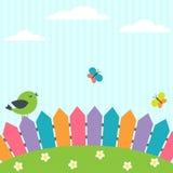Πουλί και πεταλούδες Στοκ Εικόνες
