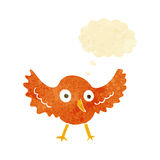 πουλί κινούμενων σχεδίων με τη σκεπτόμενη φυσαλίδα Στοκ Εικόνες