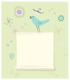 Πουλί με μια σελίδα μηνυμάτων Στοκ Εικόνα