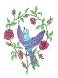 Πουλί με τα τριαντάφυλλα Απεικόνιση αποθεμάτων