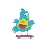 Πουλί στον πίνακα πενών Σπουργίτι skateboard διανυσματική απεικόνιση