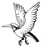 Πουλί στο άσπρο υπόβαθρο για το χρωματισμό Στοκ εικόνα με δικαίωμα ελεύθερης χρήσης
