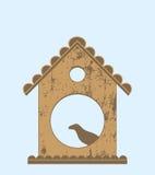 Πουλί στο σπίτι πουλιών ελεύθερη απεικόνιση δικαιώματος