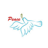 Πουλί της ειρήνης με το πράσινο κλαδί ελιάς Στοκ Εικόνες