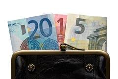 2015 που γράφεται με τα τραπεζογραμμάτια ευρώ σε ένα πορτοφόλι Στοκ Εικόνα