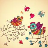 Πουλιά αγάπης στον κλάδο, διανυσματική απεικόνιση διανυσματική απεικόνιση