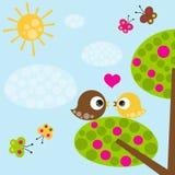 Πουλιά ερωτευμένα ελεύθερη απεικόνιση δικαιώματος