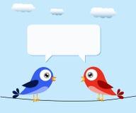 Πουλιά και λεκτική φυσαλίδα Στοκ Φωτογραφία