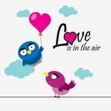 2 πουλιά με την καρδιά και το μήνυμα αγάπης Στοκ Εικόνες