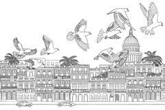 Πουλιά πέρα από την Αβάνα διανυσματική απεικόνιση