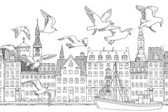 Πουλιά πέρα από την Κοπεγχάγη Στοκ Εικόνα