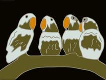 Πουλιά που κάθονται σε έναν κλάδο Στοκ Εικόνες