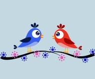 Πουλιά σε έναν κλάδο Στοκ Εικόνες