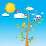 Πουλιά στον κλάδο Θερινή απεικόνιση κινούμενων σχεδίων Στοκ εικόνα με δικαίωμα ελεύθερης χρήσης