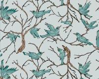 Πουλιά στους κλάδους δέντρων με το μπλε υπόβαθρο κρητιδογραφιών Άνευ ραφής επαναλάβετε διανυσματική απεικόνιση