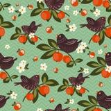 Πουλιά στο δέντρο μηλιάς διανυσματική απεικόνιση