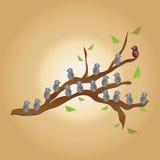 Πουλιά στο δέντρο διανυσματική απεικόνιση