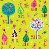 Πουλιά στο δασικό σχέδιο φύσης δέντρων Στοκ φωτογραφίες με δικαίωμα ελεύθερης χρήσης