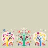 Πουλιά στο στοιχείο σχεδίου υποβάθρου απεικόνισης φύσης δέντρων Στοκ Εικόνα
