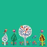 Πουλιά στο υπόβαθρο απεικόνισης φύσης δέντρων Στοκ Εικόνες