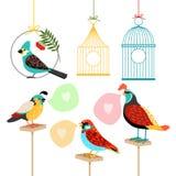 Πουλιά τραγουδιού με τις λεκτικές φυσαλίδες Στοκ Εικόνα