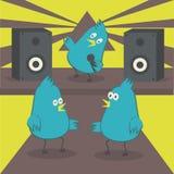 Πουλιά χορού Το πουλί τραγουδά στο μικρόφωνο Disco με το καραόκε διανυσματική απεικόνιση