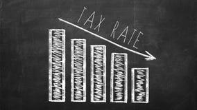 2018 που κερδίζει χρήματα και έννοια οικονομικού σχεδιασμού Διάγραμμα με το βέλος που παρουσιάζει μειωμένος φορολογικό συντελεστή Στοκ Φωτογραφία
