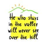 Που μένει στην κοιλάδα δεν θα δει ποτέ πέρα από το λόφο - εμπνεύστε και κινητήριο απόσπασμα Τυπωμένη ύλη για την εμπνευσμένη αφίσ Ελεύθερη απεικόνιση δικαιώματος