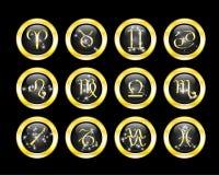 που τίθενται τα κουμπιά zodiac Στοκ Εικόνες
