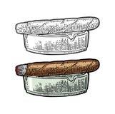 Πούρο και ashtray Διανυσματική εκλεκτής ποιότητας έγχρωμη εικονογράφηση χάραξης Στοκ Εικόνες
