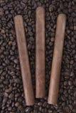 Πούρο τρία στο υπόβαθρο φασολιών καφέ Στοκ Εικόνες
