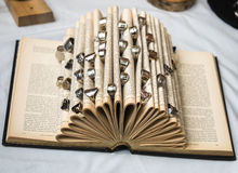 Πολλά δαχτυλίδια σε ένα βιβλίο Στοκ Εικόνες