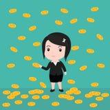 Πολλά νομίσματα, επιχειρησιακή γυναίκα έχουν πολλά νομίσματα Στοκ Φωτογραφία