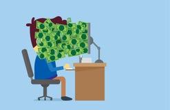 Πολλά χρήματα από τη οθόνη υπολογιστή στο πρόσωπο εργαζομένων Στοκ Φωτογραφίες