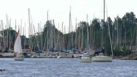 Πολλά sailboats που βγαίνουν από τη μαρίνα στο Ελσίνκι απόθεμα βίντεο