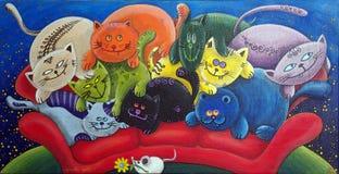 Πολλές γάτες για ένα ποντίκι διανυσματική απεικόνιση