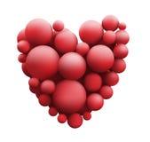 Πολλές κόκκινες σφαίρες με μορφή καρδιάς που απομονώνεται Στοκ Φωτογραφία