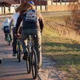 Ποδήλατα οικογενειακού γύρου με τη γάτα στοκ εικόνα