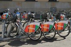 Ποδήλατα πόλεων της Βαρσοβίας Στοκ εικόνα με δικαίωμα ελεύθερης χρήσης